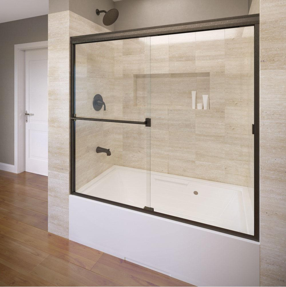Oasis tub shower glass doors - 3400 60clor Basco Classic Sliding Shower Enclosure Available In 18 Finishes Bypass Shower Doors